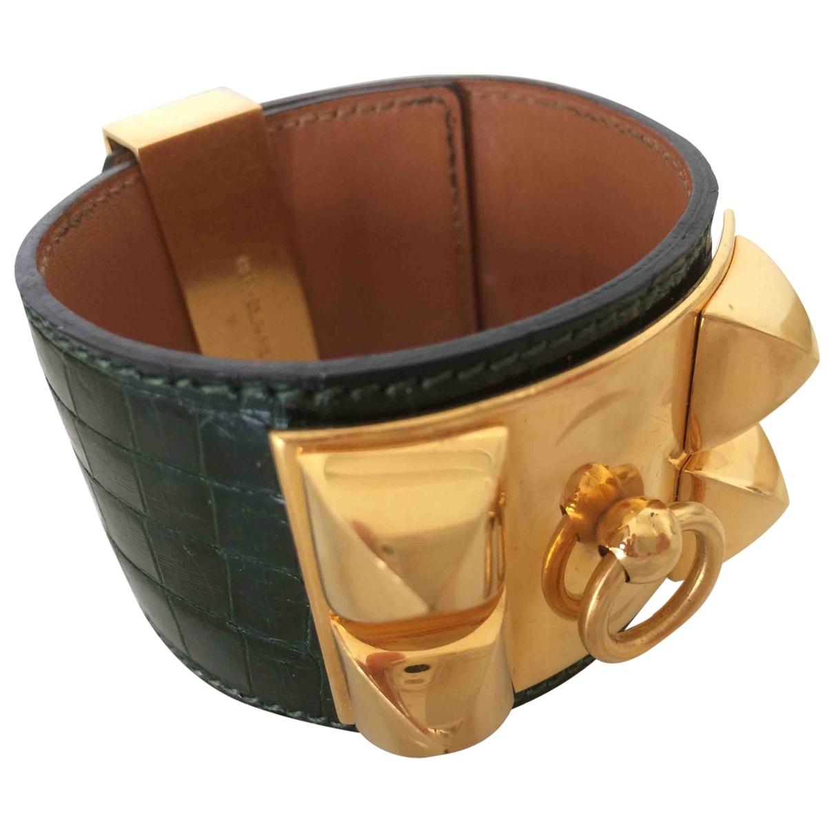 Hermès Collier de chien  Green Crocodile bracelet for Women \N