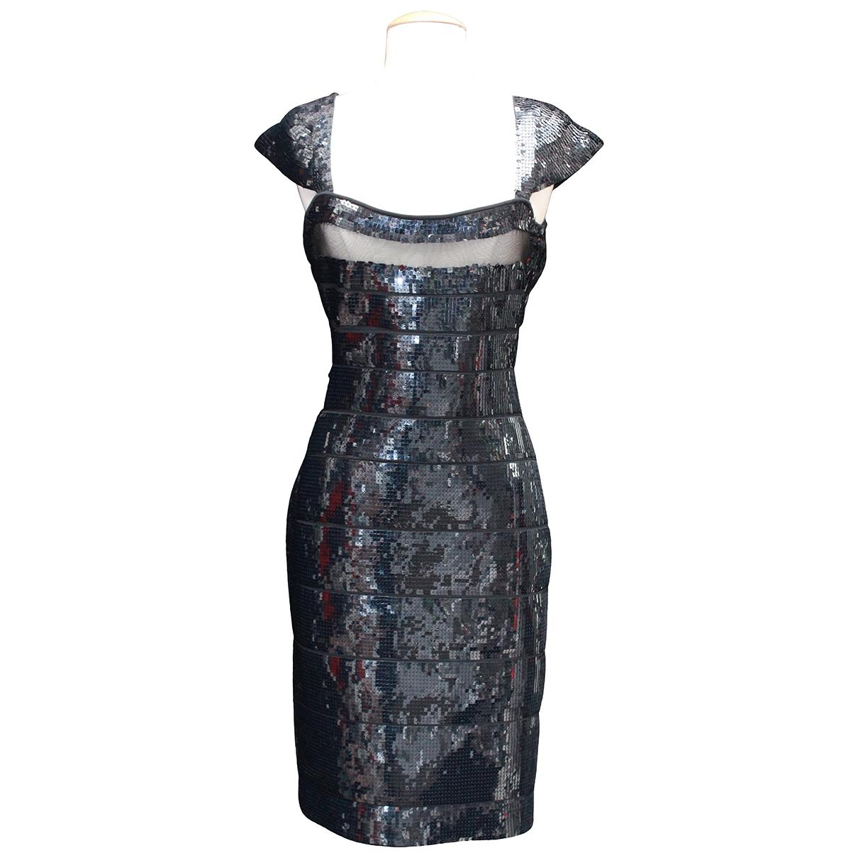 Herve Leger \N Kleid in  Schwarz Mit Pailletten