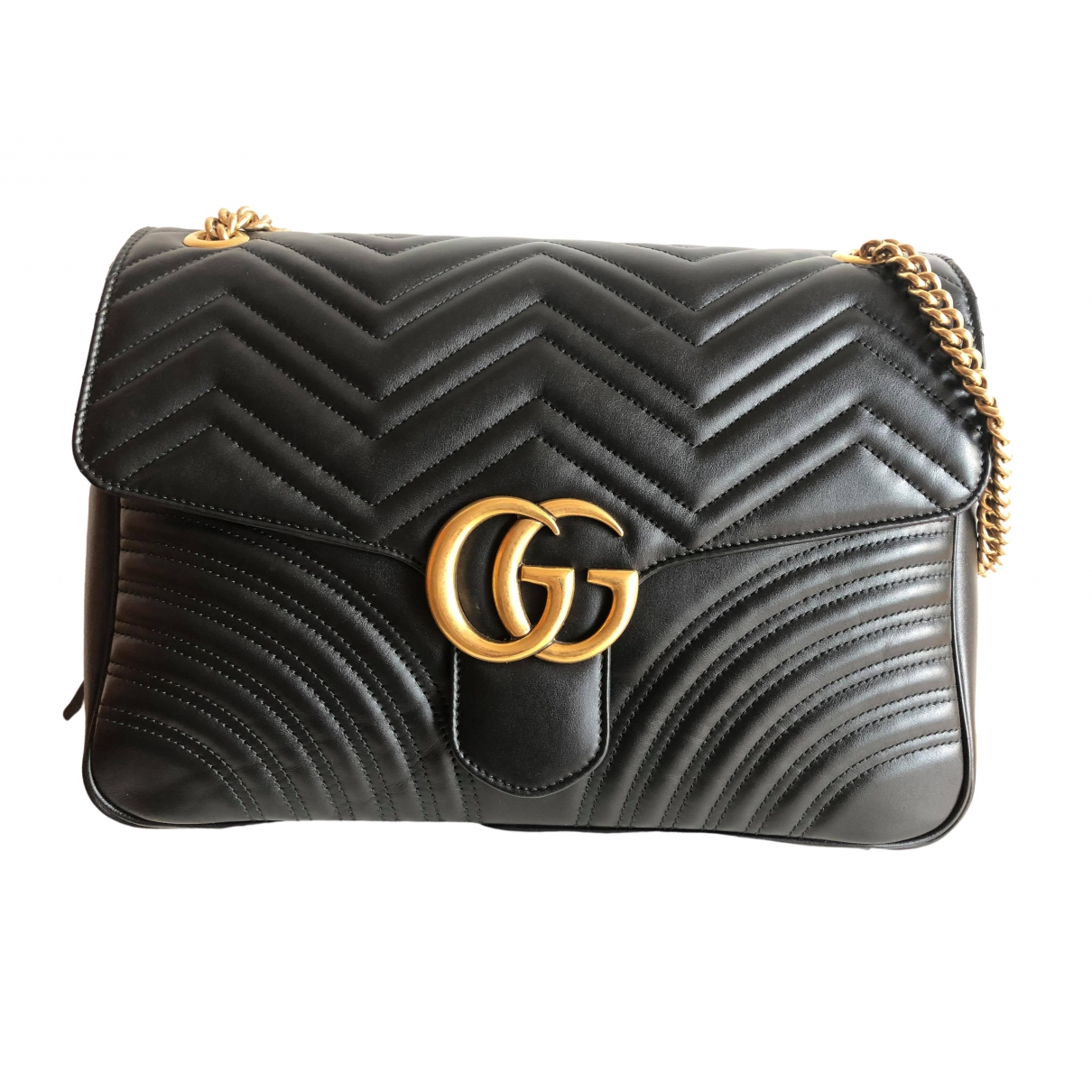 Gucci - Pochette Marmont pour femme en cuir - noir