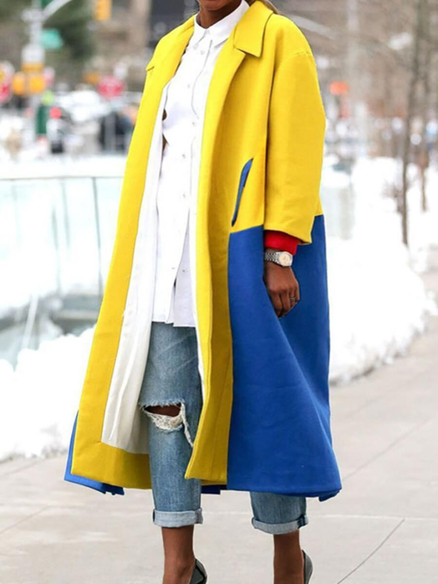 LW Lovely Casual Turndown Collar Patchwork Yellow Plus Size Trench Coat