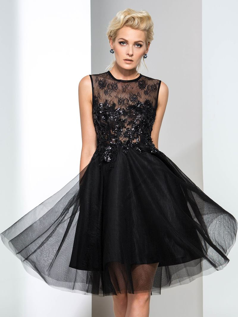 Ericdress Lace Sequins Black Cocktail Dress