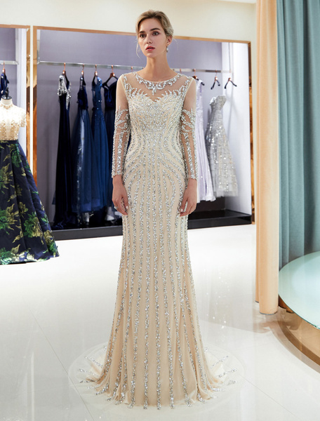 Milanoo Evening Dresses Long Sleeve Light Grey Mermaid Beading Illusion Luxury Formal Gowns