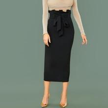 Paperbag Waist Belted Pencil Skirt
