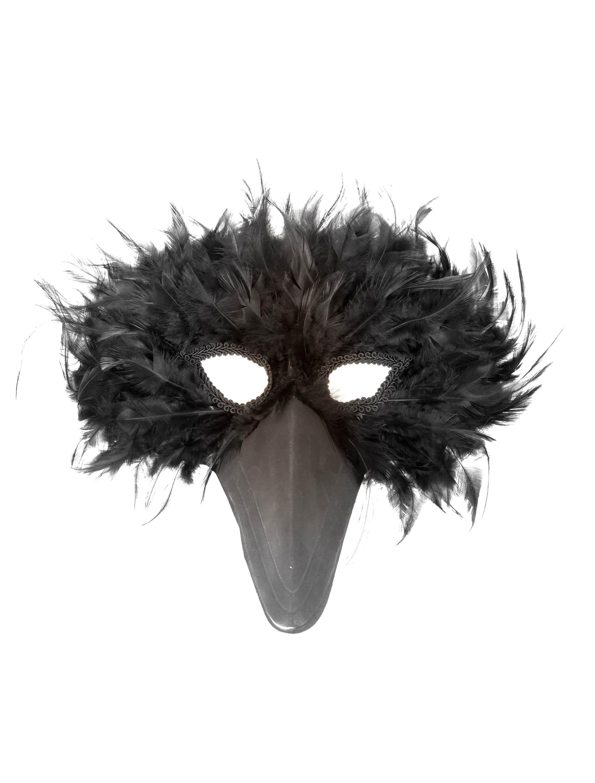 Kostuemzubehor Federmaske schwarzer Vogel