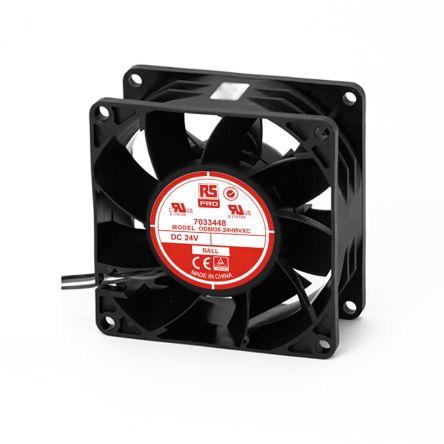 RS PRO , 24 V dc, DC Axial Fan, 80 x 80 x 38mm, 168.2m³/h, 13W