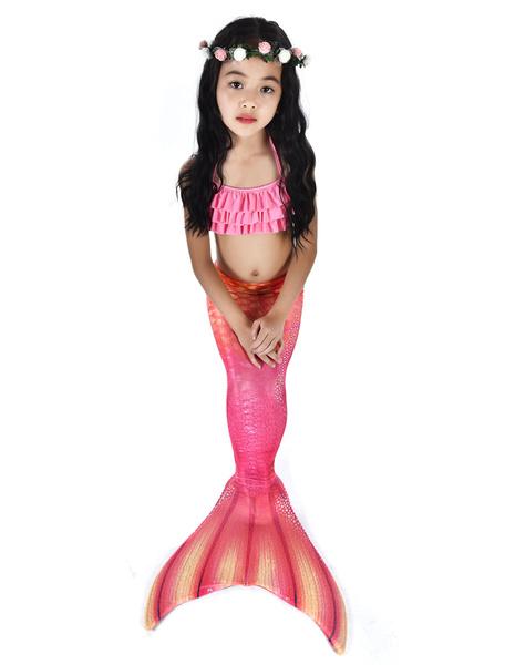 Milanoo Mermaid Costume Kids Fishtail Hot Pink Swimsuits 2 Piece Halloween