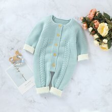 Baby Boy Button Front Contrast Cuff Sweater Jumpsuit