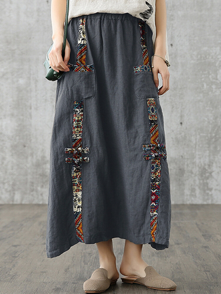 Bohemian Patched Print Front Pockets Elastic Waist Cotton Skirt