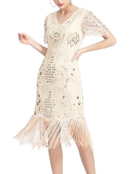 Milanoo Retro Dress 1950s V-Neck Short Sleeves Woman\'s Rockabilly Dress
