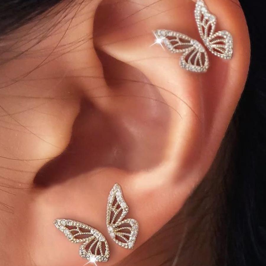 LW lovely Stylish Butterfly Silver Earring