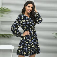 Allover Floral Print V-neck Ruffle Hem Dress