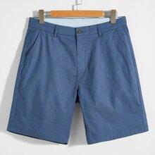 Men Solid Slant Pocket Shorts