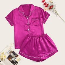 Neon Hot Pink Contrast Binding Satin Pajama Set