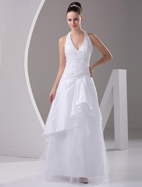 Milanoo White A-line Halter V-Neck Taffeta Organza Wedding Gown