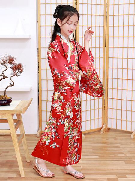 Milanoo Disfraz Halloween Disfraces japoneses para niños Kimono rojo Vestido de saten de poliester Conjunto oriental Disfraces de vacaciones Carnaval