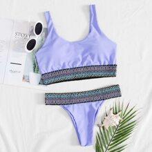 Contrast Trim Bikini Swimsuit