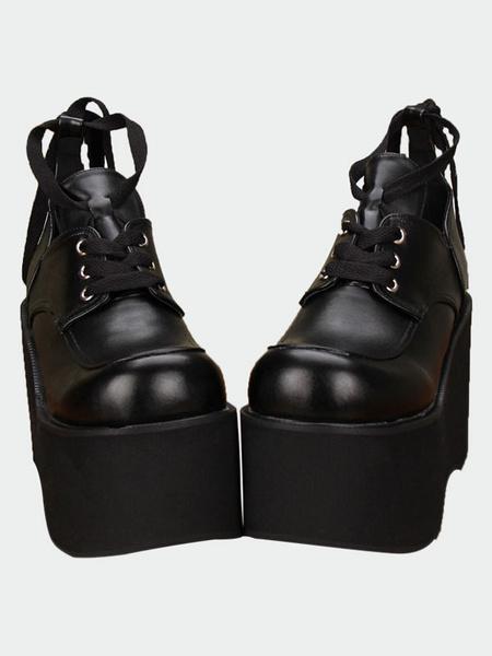 Milanoo Gothic Matte Black Lolita High Platform Shoes Shoelace Up