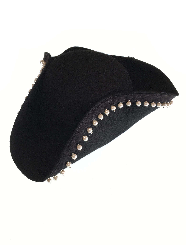 Kostuemzubehor Dreispitz Wollfilz schwarz mit Perlenborte