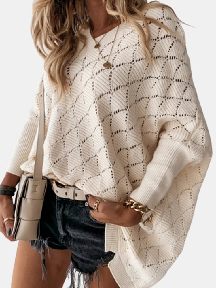 Solid Color V-neck Dolman Sleeeve Hollowed Sexy Knit Sweater For Women