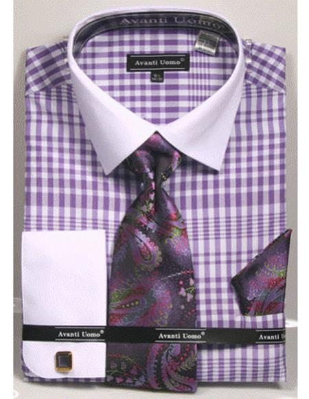 Mens white Collared French Cuffed Lavender ShirtTie/Hanky/Cufflink Set