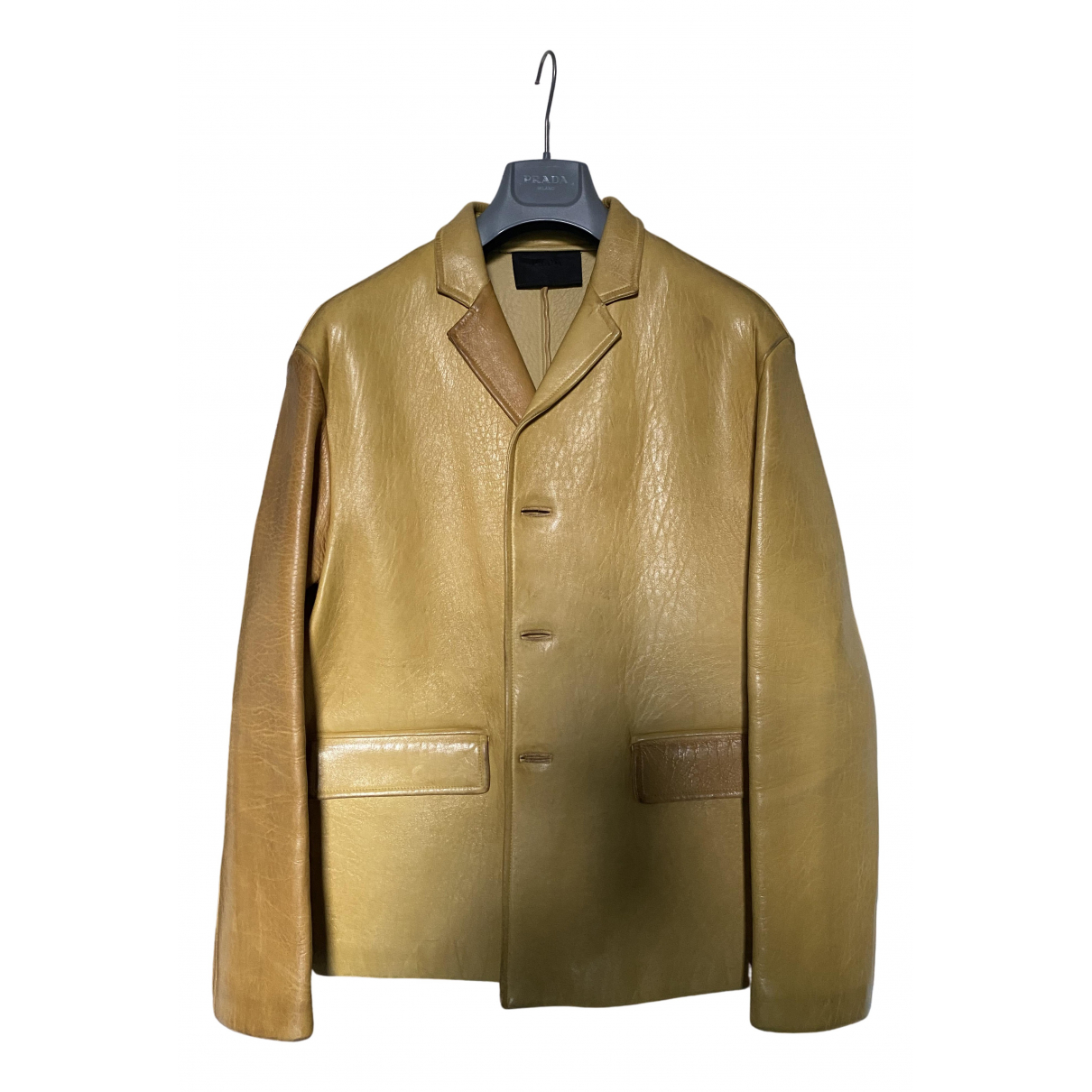 Prada - Vestes.Blousons   pour homme en cuir - jaune