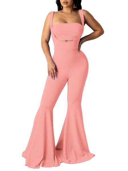 Milanoo Conjuntos de dos piezas Top corto de rosas con pantalones acampanados en capas que cuidan el cuerpo