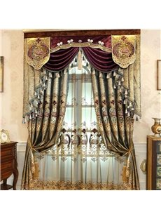 Gorgeous Luxury Golden Embroidered Shading Cloth 2 Panels Decorative Blackout Curtain Drapes
