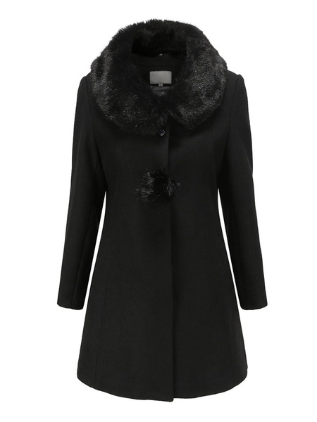 Milanoo Woman Black Coat Faux Fur Turndown Collar Long Sleeve Slim Fit Winter Coats With Pom Poms