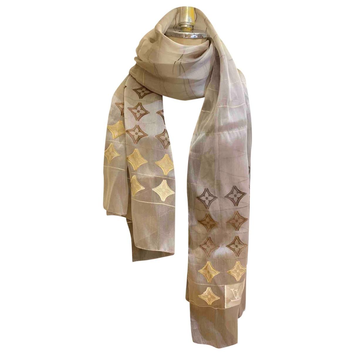 Louis Vuitton - Foulard   pour femme en soie - beige