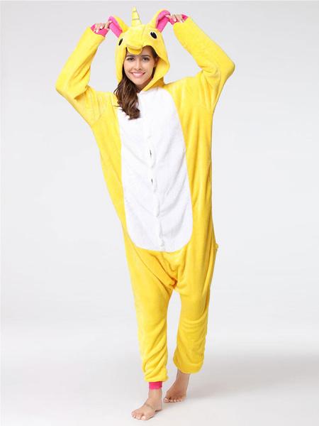 Milanoo Onesie Kigurumi Unicorn Unisex Yellow Flannel Onesie For Adults Unisex Winter Sleepwear Animal Halloween Costume