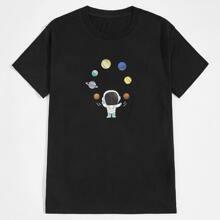 T-Shirt mit Karikatur & Planet Muster