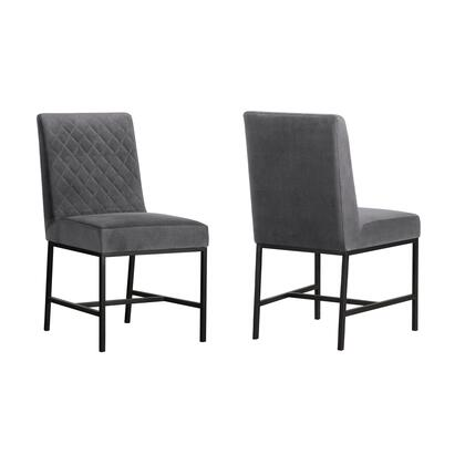 Napoli Collection LCNPSIGRY Set of 2 Accent Dining Chairs with Black Metal Legs  Diamond Stitch Pattern  Modern Style  Wood Frame and Velvet