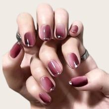 24 Stuecke falsche Nagel mit Farbverlauf & 1 Blatt Band