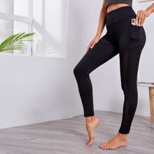 Wide Waist Band Contrast Mesh Sports Leggings With Phone Pocket