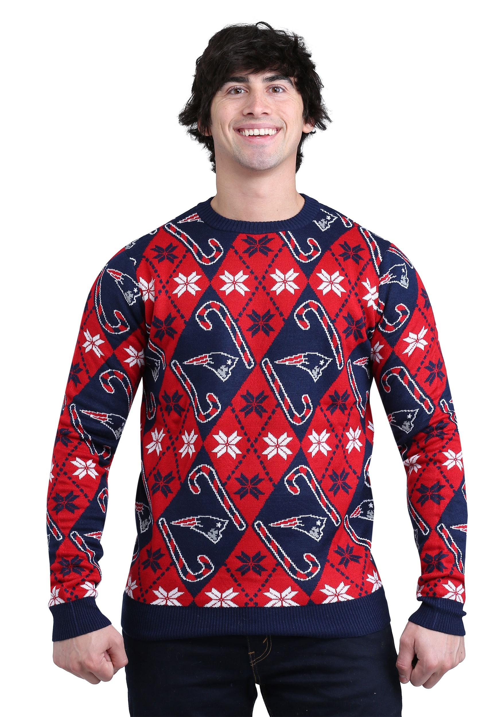 New England Patriots Candy Cane Ugly Christmas Sweater
