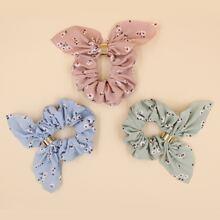 3pcs Flower Pattern Scrunchie Scarf