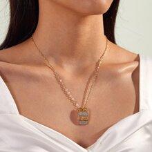 1pc Strass gravierte Aushohlen geometrische Charm Halskette