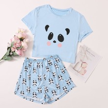 Cartoon Panda Print PJ Set
