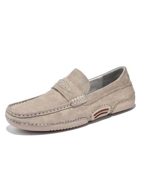 Milanoo Mocasines para hombre Zapatos sin cordones con correa de monje y punta redonda de piel de cerdo para hombre