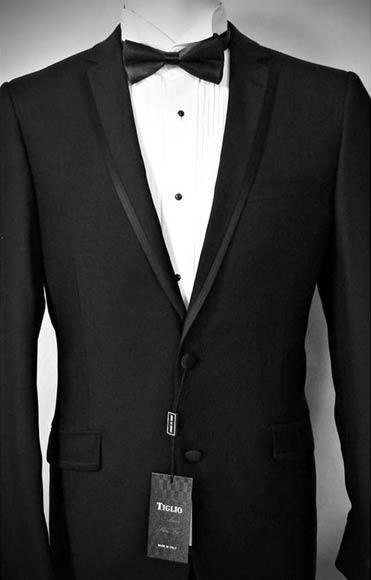 Mens Tiglio Luxe Italian Notch Lapel Two Button Black Wool Tuxedo