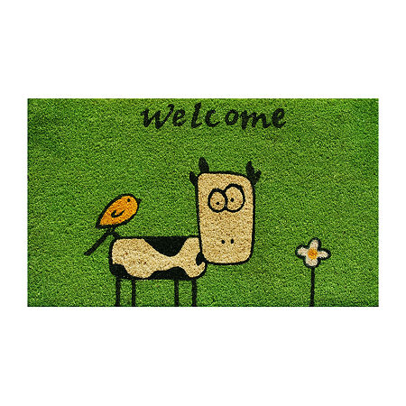 Cute Cow Rectangular Outdoor Doormat, One Size , Multiple Colors