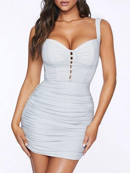 Milanoo Bodycon Dresses White Sleeveless Sexy Pencil Dress