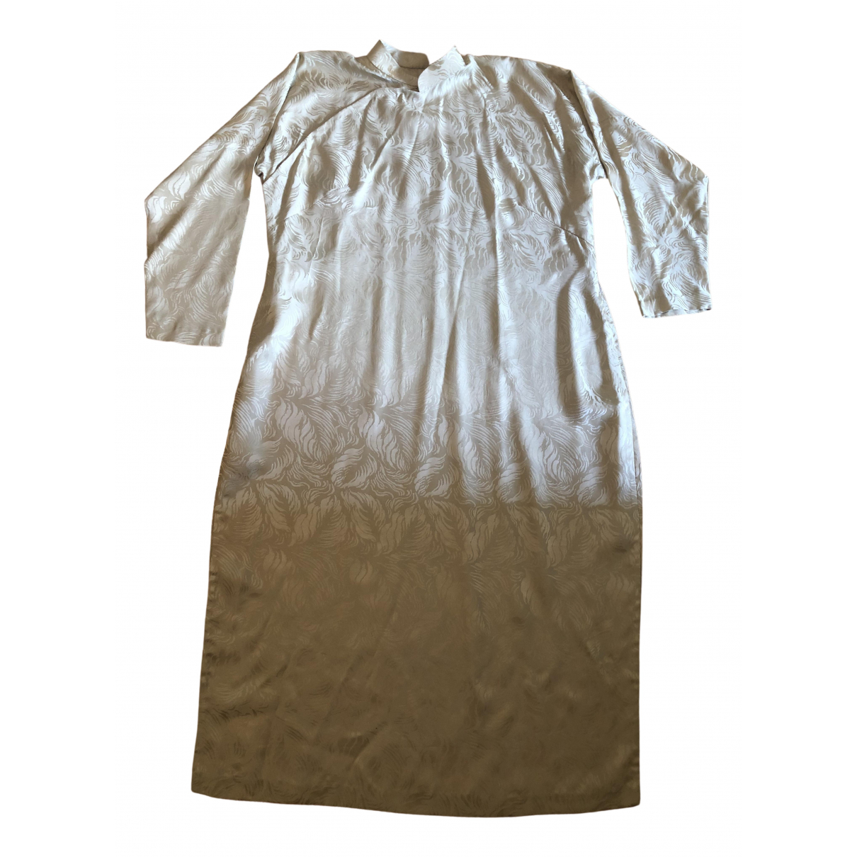 Non Signé / Unsigned \N Beige Silk dress for Women 40 FR