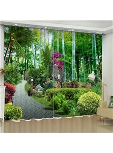 Green Garden and Slate Road Printed 2 Panels Decorative 3D Curtain