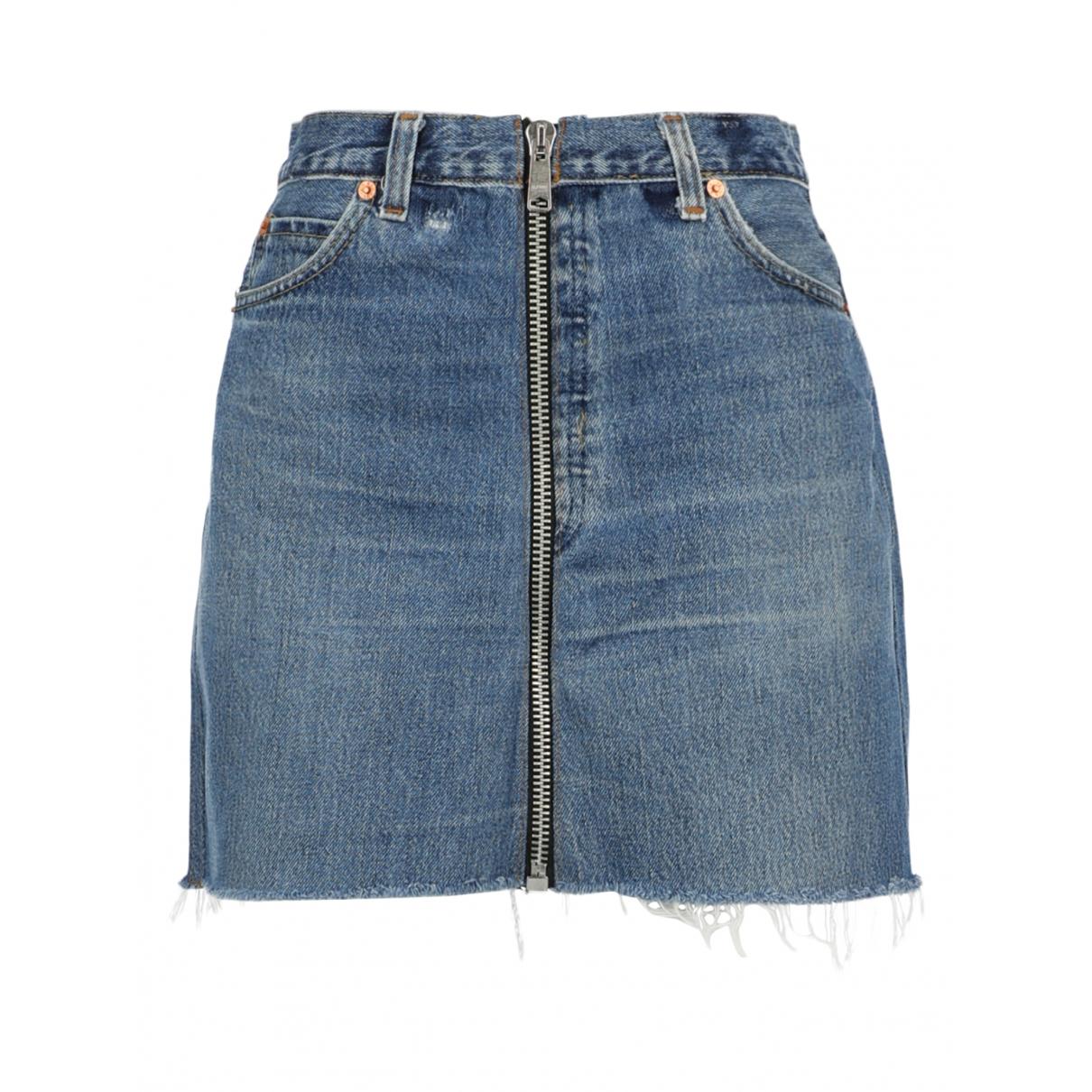 Re/done - Jupe   pour femme en coton - bleu
