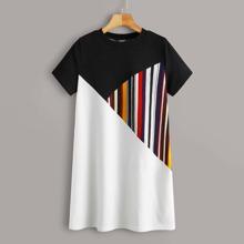 Vestido estilo camiseta de rayas de color combinado