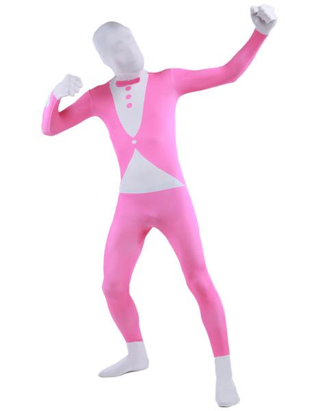 Milanoo Morph Suit Pink Tuxedo Pattern Zentai Suit Full Body Lycra Spandex Bodysuit