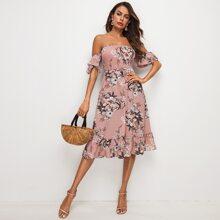 Schulterfreies Kleid mit gerafftem Detail und Blumen Muster
