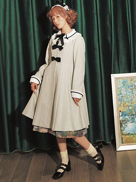 Milanoo Classic Lolita Overcoat Lace Bow Camel Wool Lolita Coat