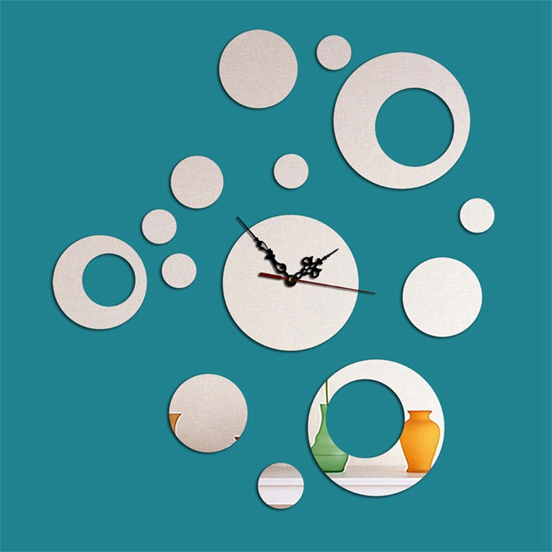 Creative Round Shape 3 Color Simple Design 3D Acrylic Specular Mute Wall Clock